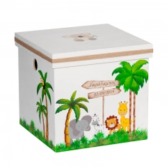 Ξύλινο κουτί με ζώα της ζούγκλας